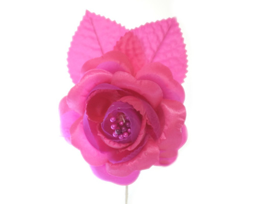 "2.5"" Fuchsia Silk Single Rose Flowers - Pack of 12"