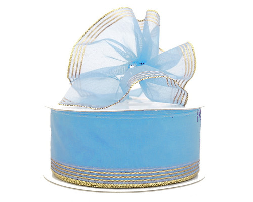 """1.5""""x25 yards Light Blue Organza Pull Bows Gift Ribbon - Pack of 5 Rolls"""