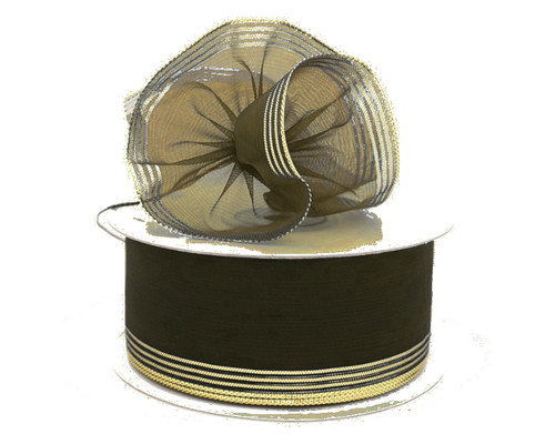 "1.5""x25 yards Brown Organza Pull Bows Gift Ribbon with Gold Trim - Pack of 5 Rolls"
