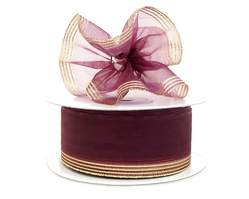 "1.5""x25 yards Burgundy Gold Trim Organza Pull Bows Gift Ribbon - Pack of 5 Rolls"