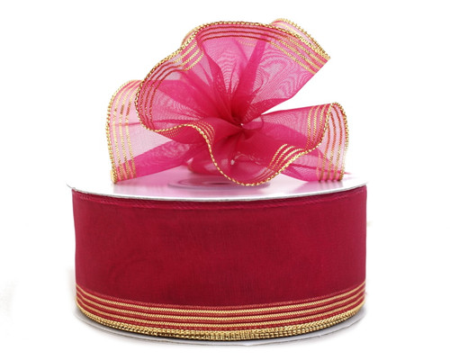 "1.5""x25 yards Fuchsia Organza Pull Bows Gift Ribbon - Pack of 5 Rolls"