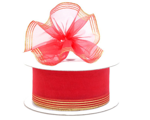 "1.5""x25 yards Coral Organza Pull Bows Gift Ribbon - Pack of 5 Rolls"