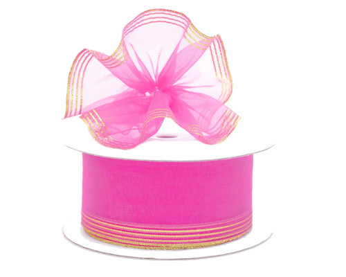 "1.5""x25 yards Hot Pink Organza Pull Bows Gift Ribbon with Silver Edge - Pack of 5 Rolls"