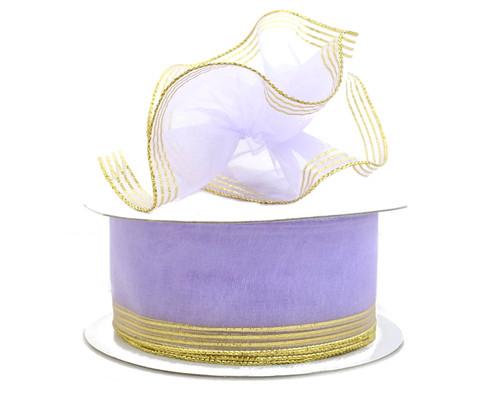 "1.5""x25 yards Lavender Organza Pull Bows Gift Ribbon with Gold Edge - Pack of 5 Rolls"