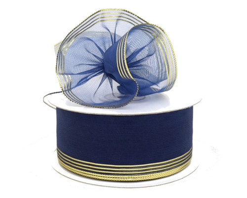 "1.5""x25 yards Navy Blue Organza Pull Bows Gift Ribbon with Gold Edge - Pack of 5 Rolls"