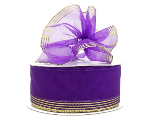 "1.5""x25 yards Purple Organza Pull Bows Gift Ribbon - Pack of 5 Rolls"