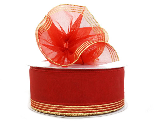 "1.5""x25 yards Red Organza Pull Bows Gift Ribbon with Red Trim - Pack of 5 Rolls"