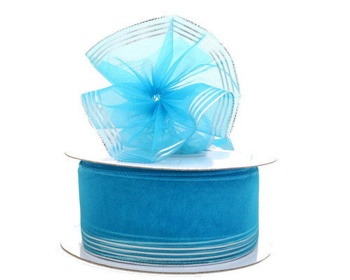 "1.5""x25 yards Turquoise Organza Pull Bows Gift Ribbon with Gold Trim - Pack of 5 Rolls"