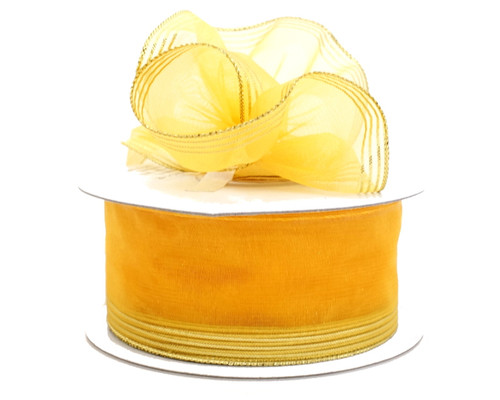 "1.5""x25 yards Gold Yellow Organza Pull Bows Gift Ribbon - Pack of 5 Rolls"