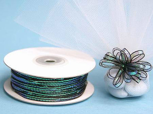 "1/4""x50 yards Black Organza Pull Bows Ribbon with Iridescent Edge - Pack of 6 Rolls"