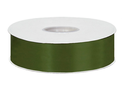 """1.5""""x50 yard Moss Green Polyester Satin Gift Ribbon - Pack of 5 Rolls"""
