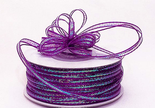 """1/4""""x50 yards Fuchsia Organza Pull Bows Ribbon with Iridescent Edge - Pack of 6 Rolls"""
