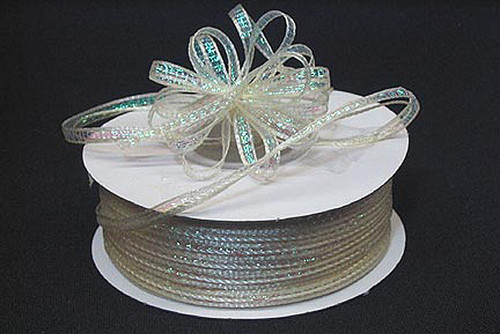 """1/4""""x50 yards Ivory Organza Pull Bows Ribbon with Iridescent Edge - Pack of 6 Rolls"""