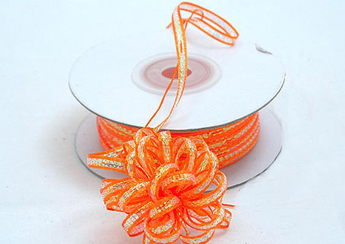 """1/4""""x50 yards Orange Organza Pull Bows Ribbon with Iridescent Edge - Pack of 6 Rolls"""