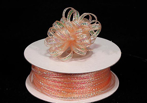 """1/4""""x50 yards Peach Organza Pull Bows Ribbon with Iridescent Edge - Pack of 6 Rolls"""