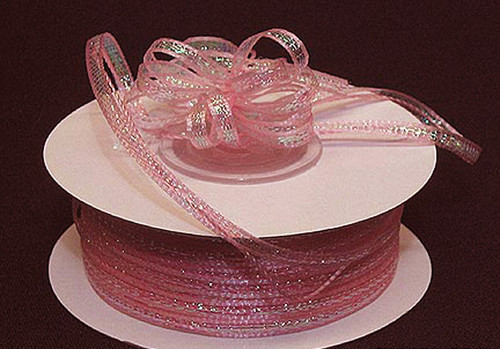 """1/4""""x50 yards Pink Organza Pull Bows Ribbon with Iridescent Edge - Pack of 6 Rolls"""