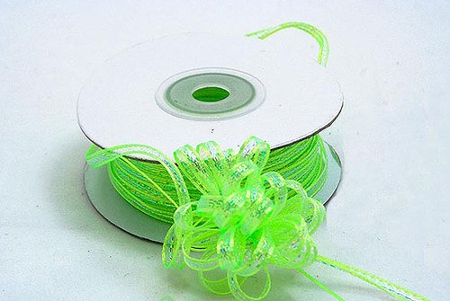 "1/8""x50 yards Apple Green Organza Pull Bows Ribbon with Iridescent Edge - Pack of 7 Rolls"