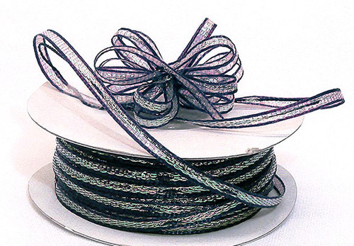 "1/8""x50 yards Navy Blue Organza Pull Bows Ribbon with Iridescent Edge - Pack of 7 Rolls"