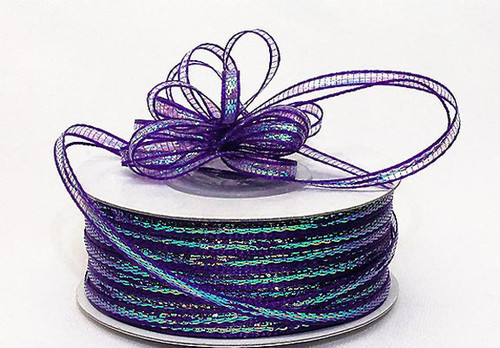 "1/8""x50 yards Purple Organza Pull Bows Ribbon with Iridescent Edge - Pack of 7 Rolls"