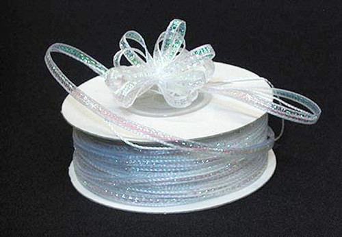 "1/8""x50 yards White Organza Pull Bows Ribbon with Iridescent Edge - Pack of 7 Rolls"