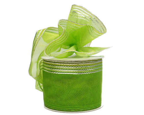 """2 3/4""""x25 yards Apple Green-Silver Organza Pull Bows Gift Ribbon - Pack of 3 Rolls"""