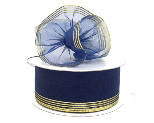 """2 3/4""""x25 yards Navy Blue Organza Pull Bows Gift Ribbon - Pack of 3 Rolls"""