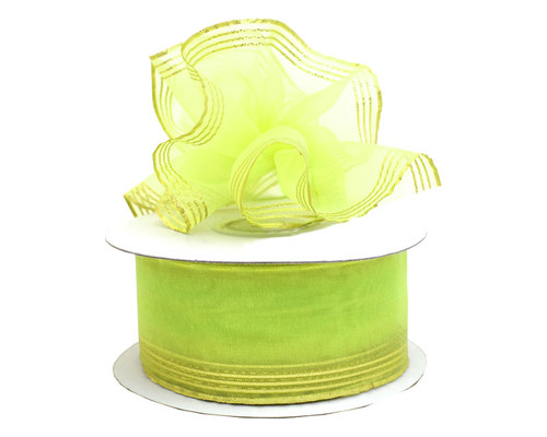"7/8""x25 yards Apple Green Organza Pull Bows Ribbon with Gold Edge - Pack of 7 Rolls"
