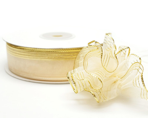 "7/8""x25 yards Ivory Organza Pull Bows Ribbon with Gold Edge - Pack of 7 Rolls"