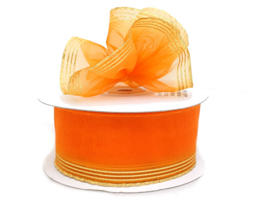 "7/8""x25 yards Orange Organza Pull Bows Ribbon with Gold Edge - Pack of 7 Rolls"