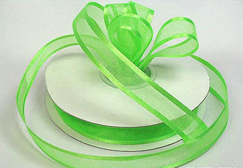 "1.5""x25 yards Apple Green Organza Satin Edge Gift Ribbon - Pack of 5 Rolls"