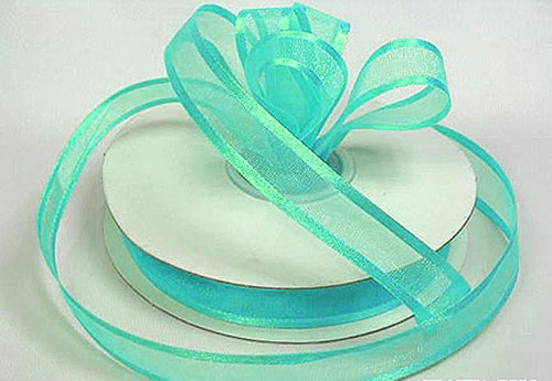 "1.5""x25 yards Aqua Blue Organza Satin Edge Gift Ribbon - Pack of 5 Rolls"
