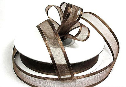 "1.5""x25 yards Brown Organza Satin Edge Gift Ribbon - Pack of 5 Rolls"