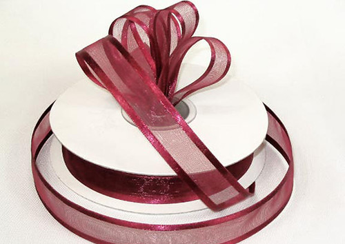 "1.5""x25 yards Burgundy Organza Satin Edge Gift Ribbon - Pack of 5 Rolls"