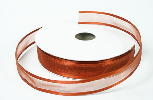"1.5""x25 yards Copper Organza Satin Edge Gift Ribbon - Pack of 5 Rolls"