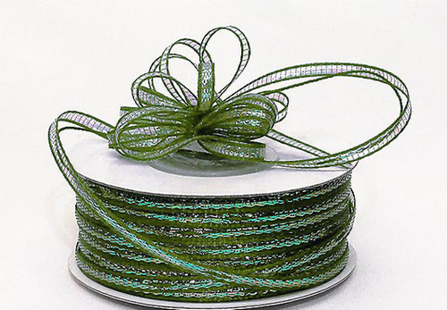 """1/4""""x50 yards Moss Green Organza Pull Bows Ribbon with Iridescent Edge - Pack of 6 Rolls"""