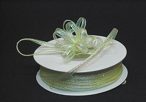 """1/4""""x50 yards Light Yellow Organza Pull Bows Ribbon with Iridescent Edge - Pack of 6 Rolls"""