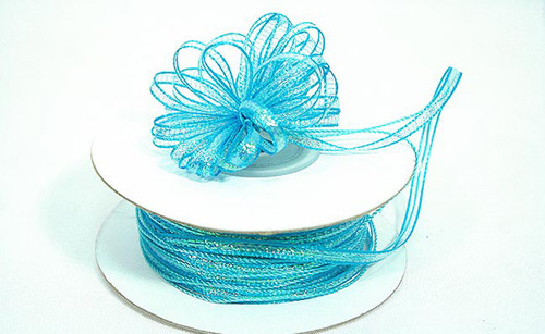"""1/4""""x50 yards Turquoise Organza Pull Bows Ribbon with Iridescent Edge - Pack of 6 Rolls"""