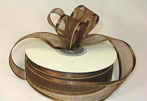 "1.5""x25 yards Brown Organza Satin Edge with Gold/Silver Trim Gift Ribbon - Pack of 5 Rolls"