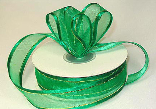 "1.5""x25 yards Emerald Organza Satin Edge with Gold/Silver Trim Gift Ribbon - Pack of 5 Rolls"