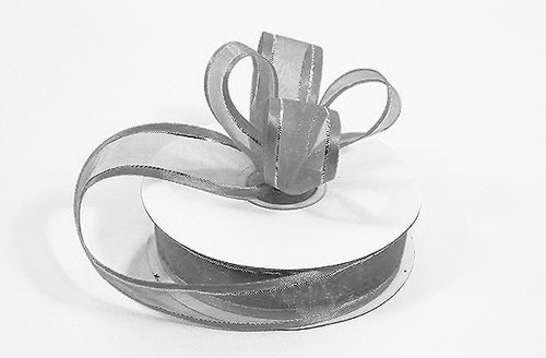 """3/8""""x25 yards Silver Organza Satin Edge with Gold/Silver Trim Gift Ribbon - Pack of 15 Rolls"""