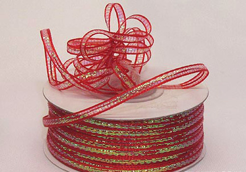"""1/4""""x50 yards Red Organza Pull Bows Ribbon with Iridescent Edge - Pack of 6 Rolls"""