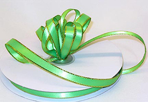"1/4""x50 yard Apple Green Satin Gift Ribbon with Gold/Silver Edge - Pack of 20 Rolls"