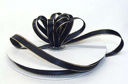"1/4""x50 yard Black Satin Gift Ribbon with Gold/Silver Edge - Pack of 20 Rolls"