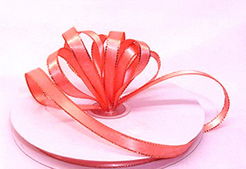 "1/4""x50 yard Coral Satin Gift Ribbon with Gold/Silver Edge - Pack of 20 Rolls"
