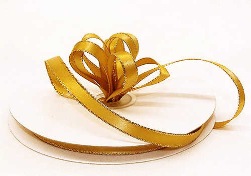 "1/4""x50 yard Gold Yellow Satin Gift Ribbon with Gold/Silver Edge - Pack of 20 Rolls"