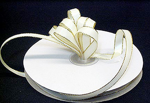 "1/4""x50 yard Ivory Satin Gift Ribbon with Gold/Silver Edge - Pack of 20 Rolls"