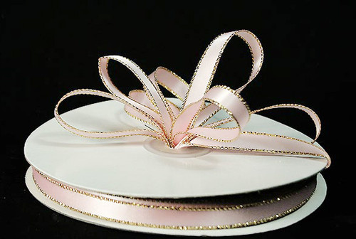 "1/4""x50 yard Light Pink Satin Gift Ribbon with Gold/Silver Edge - Pack of 20 Rolls"