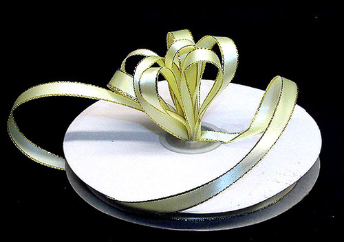 "1/4""x50 yard Light Yellow Satin Gift Ribbon with Gold/Silver Edge - Pack of 20 Rolls"