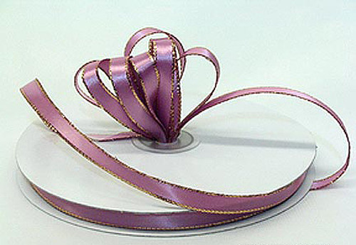 "1/4""x50 yard Mauve Satin Gift Ribbon with Gold/Silver Edge - Pack of 20 Rolls"
