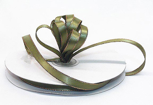 "1/4""x50 yard Moss Green Satin Gift Ribbon with Gold/Silver Edge - Pack of 20 Rolls"